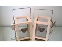 pair of shabby chic glass lanterns