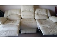 Cream leather sofa and armchair for sale!