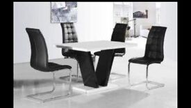 Black faux leather dining chairs x4