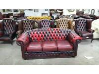 Vntage hump back oxblood leather chesterfield 3 seater sofa UK delivery CHESTERFIELD LOUNGE