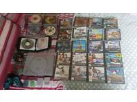 Original PlayStation one with 4 memory cards. 62 games