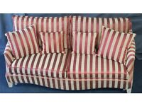 Sofa. Duresta large sofa in russet and gold stripe. Brand new, straight from the factory