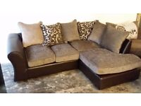 NEW Graded Brown and Beige Right Hand Corner Sofa Suite FREE LOCAL DELIVERY