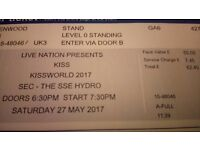 Two standing KISS concert tickets SSE Hydro Sat 27th May. Face value £55 each.