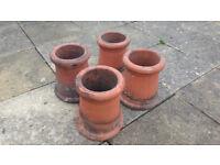 Set of Four (4x) Victorian Chimney Pots