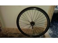 Rear 700c bicycle wheel with 8 speed cassette.