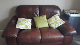 2, two seater brown leather sofas REDUCED