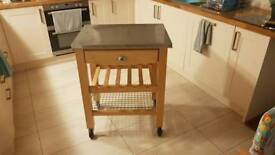 Kitchen unit butchers block stainless steel top (original) + pine / oak tops free delivery didcot 5m