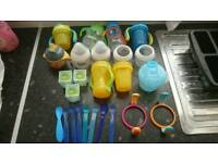baby bottle and sippy cup weening bundle.