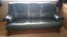 Dark green 3 seater leather sofa