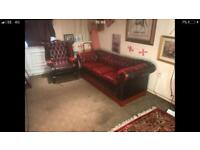 Chesterfield 3 Seater Sofa & Queen Anne Wing Back Chair Genuine Oxblood Leather Suite / Settee 🔥🎉