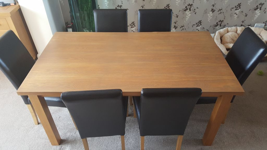 Oak veneer dining table and 6 faux brown leather chairs  : 86 from www.gumtree.com size 1024 x 576 jpeg 74kB