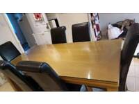 Harveys Oak Table with glass protective top + 6 free dining chairs