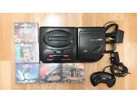 Sega Mega CD with mega drive and games