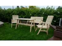 Wooden hand made table and chairs