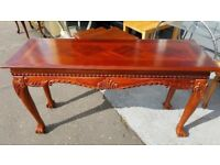 Ornately Carved Edwardian Style Console Table With Ball & Claw Feet