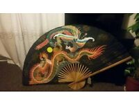 Big Japanese Silk Fan 35inch, suitable for home decor