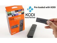 Amazon Fire TV Stick with voice remote and latest Kodi v17 and Mobdro pre-installed.