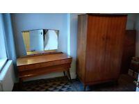 Mid Century Walnut Dressing Table & Wardrobe - Alfred Cox