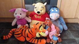 Large Winnie the Pooh Tigger Eeyore Piglet Kanga Roo Bundle of 6 Soft toys