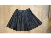 Zara pleated faux-leather black skirt size small