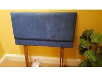 Blue faux suede single bed headboard: