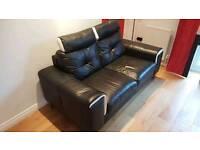 Black leather sofa excellent condition!