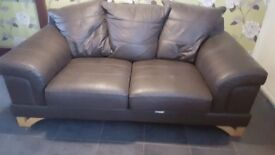 Brown real leather two seater sofa good condition