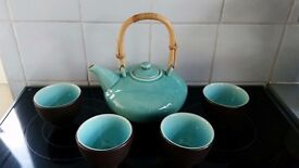 Debenhams Stoneware turquoise blue and brown oriental teapot and 4 cups (made in Thailand)
