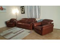 Ex-display Mustang brown leather electric recliner 3 seater sofa and 2 armchairs