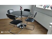 BLACK GLASS & CHROME DINING TABLE + 4 CHAIRS