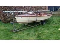 16' Wayfarer sailing dinghy with trailer and trolley