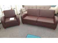 Julian Bowen Vivo 3 Seater Sofa & Armchair in Chestnut Faux Leather Can Deliver