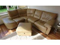 Leather Corner Sofa, Beige. 4/5 Seat with Storage Footstool