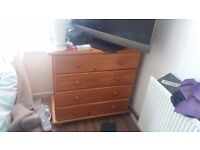 Double divan bed base with wooden headboard an bedside drawers