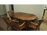 Extendable pine dining table and chairs
