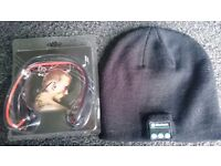 Bluetooth sports headphones and bluetooth beanie hat. brand new, unwanted gifts ----- £8