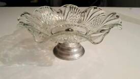 Cut glass bowl cake stand