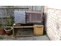 Guinnea Pig hutch with waterproof/windproof cover. Run with indoor room. Sawdust,food,bowls,bottles