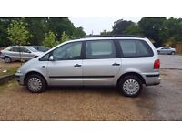 VW SHARAN 1.9TDI, MOT, SPARES OR REPAIR due to engine problem - starts and drives, 7 seater