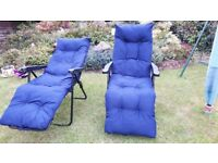 2 x Navy Recline Relaxer Chairs