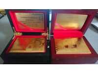 24K Karat 100 Dollar and 50 £ whit the queen Gold Plated Poker Playing Card with Wood Box