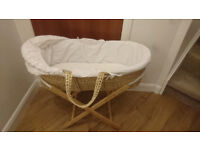 Moses Basket with Stand (inc Fitted Sheets and Mattresses with Covers)