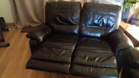 2 x 2 Seater leather recliners