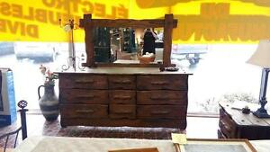 Bureau Madame en bois avec table de chevet Avec Miroir En Bois Livraison Disponible