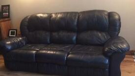 3 +2 Seat Leather Sofa in Navy