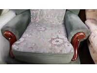 Green Fabric Fireside Armchair in Good Condition