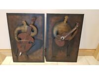 2 x 3D metal wall art pictures of musicians