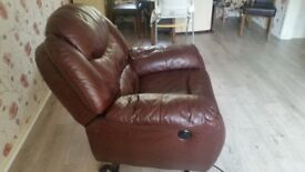 Rise & recliner armchair brown leather