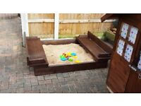 Made specific140ally to order, a 4ft x 4ft (approx) hand built child's wooden sandpit